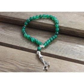 eJOYA Doğal Yeşil Akik Taşlı Gümüş Tesbih