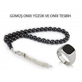 eJOYA Gümüş Yüzük ve Tesbih Onix Set