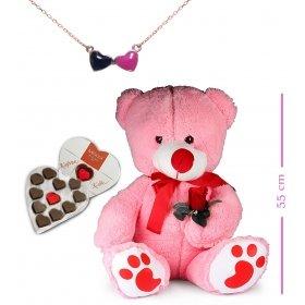 eJOYA Sevimli Ayı ve Sen Ben Kalp Kolye - Çikolata Hediyeli