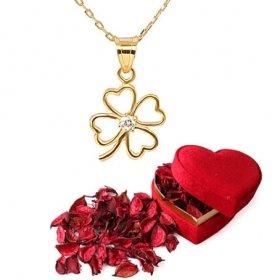 eJOYA Kalpten Yonca Altın Kolye ve Kırmızı Gül Yaprakları