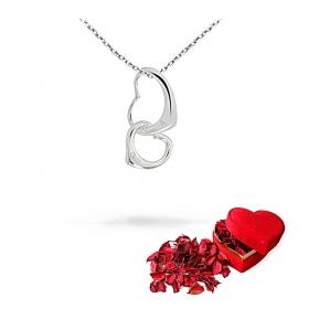 eJOYA Kişiye Özel Çift Kalp Gümüş Kolye