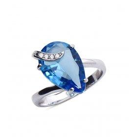 eJOYA Mavi Taşlı Gümüş Yüzük