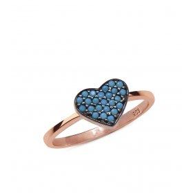 eJOYA Mavi Taşlı  Kalp Gümüş Yüzük