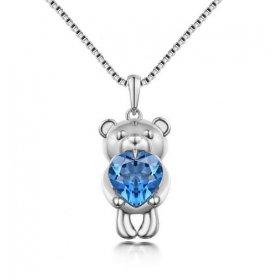 eJOYA Mavi Topaz Taşlı Teddy Bear Kolye