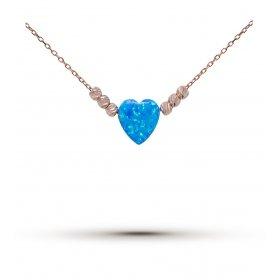 eJOYA Opal Taşlı Kalp Gümüş Kolye