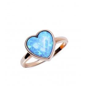 eJOYA Opal Taşlı Kalp Gümüş Yüzük