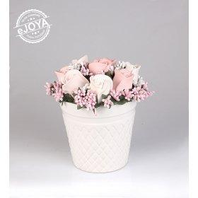 eJOYA Pembe Beyaz Güller Taş Aranjmanı