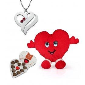 eJOYA Kalp Kolye ve Yastık - Çikolata Hediyeli