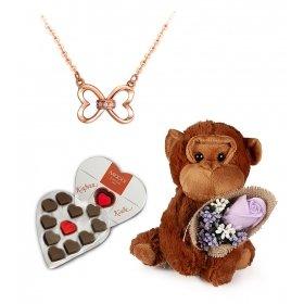 eJOYA Pırlanta Kalpten Sonsuzluk Kolye ve Aşk Maymunu - Çikolata Hediyeli
