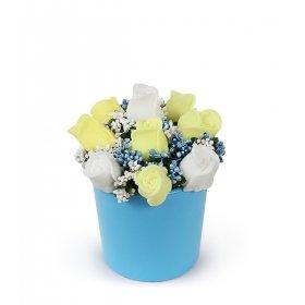 eJOYA Sarı Beyaz Güller Sabun Aranjmanı