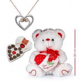 eJOYA Sevimli Ayı ve Sonsuz Kalp Kolye - Çikolata Hediyeli