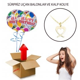 eJOYA Sürpriz Happy Birthday Uçan Balonlu Altın Kolye Hediye Paketi