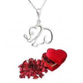 eJOYA Uğurlu Fil Gümüş Kolye ve Güller Kalp Hediye Paketi