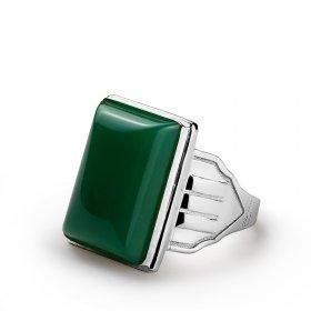 eJOYA Yeşil Akik Taşlı 925 Ayar Gümüş Erkek Yüzük