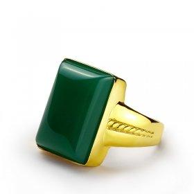 eJOYA Yeşil Akik Taşlı Altın Erkek Yüzük