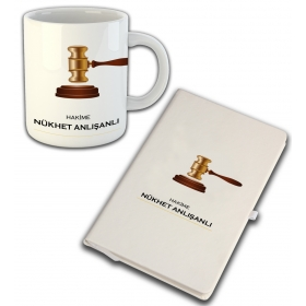 eJOYA Kişiye Özel Mesleki Hakime Temalı Defter Ve Kupa 81412