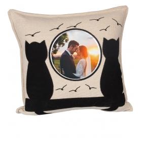 eJOYA Kişiye Özel Resimli Romantik Kediler Yastık 81312