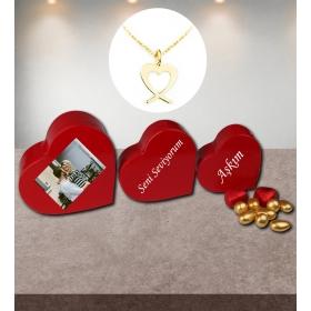 eJOYA Kişiye Özel Sürprizli Kalp Kutuda Altın Kolye 81557