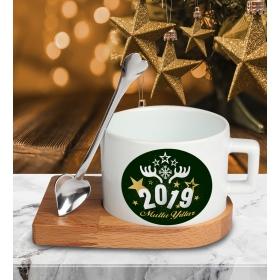 eJOYA Yeni Yıl Temalı Altlıklı Fincan 81189