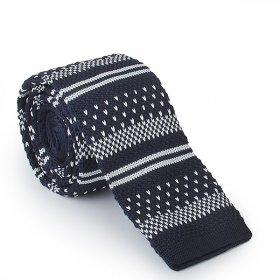 Lacivert Beyaz Desenli Örme Kravat