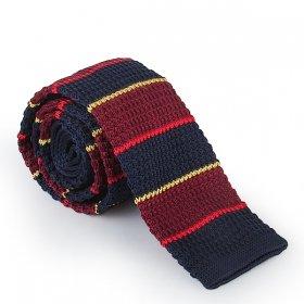 Lacivert, Bordo - Renkli Çizgili Örme Kravat