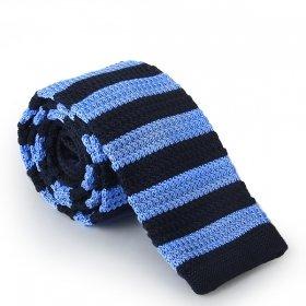Lacivert - Mavi Çizgili Örme Kravat