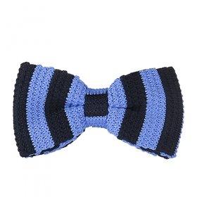 Lacivert - Mavi Çizgili Örme Papyon