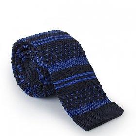 Lacivert - Mavi Desenli Örme Kravat
