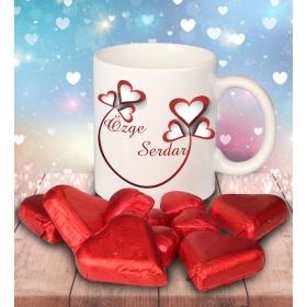 eJOYA Sevgililer İçin Kişiye Özel Kalp Çikolatalı Fincan 81276