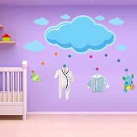 Mavi Dev Bulut ve Bulutcuklar Duvar Sticker