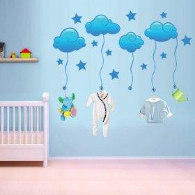 Mavi Yıldızlı Bulutlar Duvar Sticker