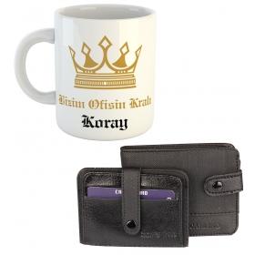 eJOYA Ofisin Kralı Kişiye Özel Kulplu Bardak Hediye Seti 79561