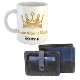 eJOYA Ofisin Kralı Kişiye Özel Kulplu Bardak Hediye Seti 79563