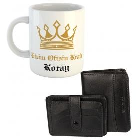 eJOYA Ofisin Kralı Kişiye Özel Kulplu Bardak Hediye Seti 79567