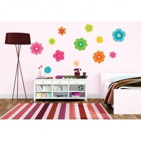 Renkli Çiçekler Duvar Sticker