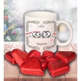 eJOYA Sevgililer İçin Kişiye Özel Kalp Çikolatalı Fincan 81278