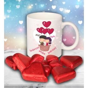 eJOYA Sevgililer İçin Kişiye Özel Kalp Çikolatalı Fincan 81279