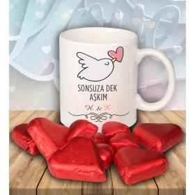 eJOYA Sevgililer İçin Kişiye Özel Kalp Çikolatalı Fincan 81280