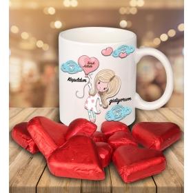eJOYA Sevgililer İçin Kişiye Özel Kalp Çikolatalı Fincan 81281