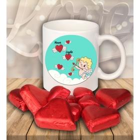 eJOYA Sevgililer İçin Kişiye Özel Kalp Çikolatalı Fincan 81282