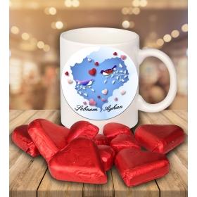 eJOYA Sevgililer İçin Kişiye Özel Kalp Çikolatalı Fincan 81283