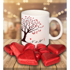 eJOYA Sevgililer İçin Kişiye Özel Kalp Çikolatalı Fincan 81284