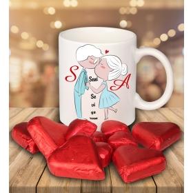 eJOYA Sevgililer İçin Kişiye Özel Kalp Çikolatalı Fincan 81285