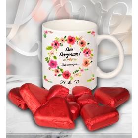 eJOYA Sevgililer İçin Kişiye Özel Kalp Çikolatalı Fincan 81286