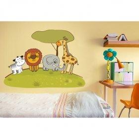 Şirin Hayvanlar Parkta Duvar Sticker