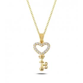 eJOYA Taşlı Kalbimin Anahtarı 14 Ayar Altın Kolye Ucu 80666