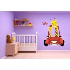Zürafa Anne ve Yavrusu Duvar Sticker