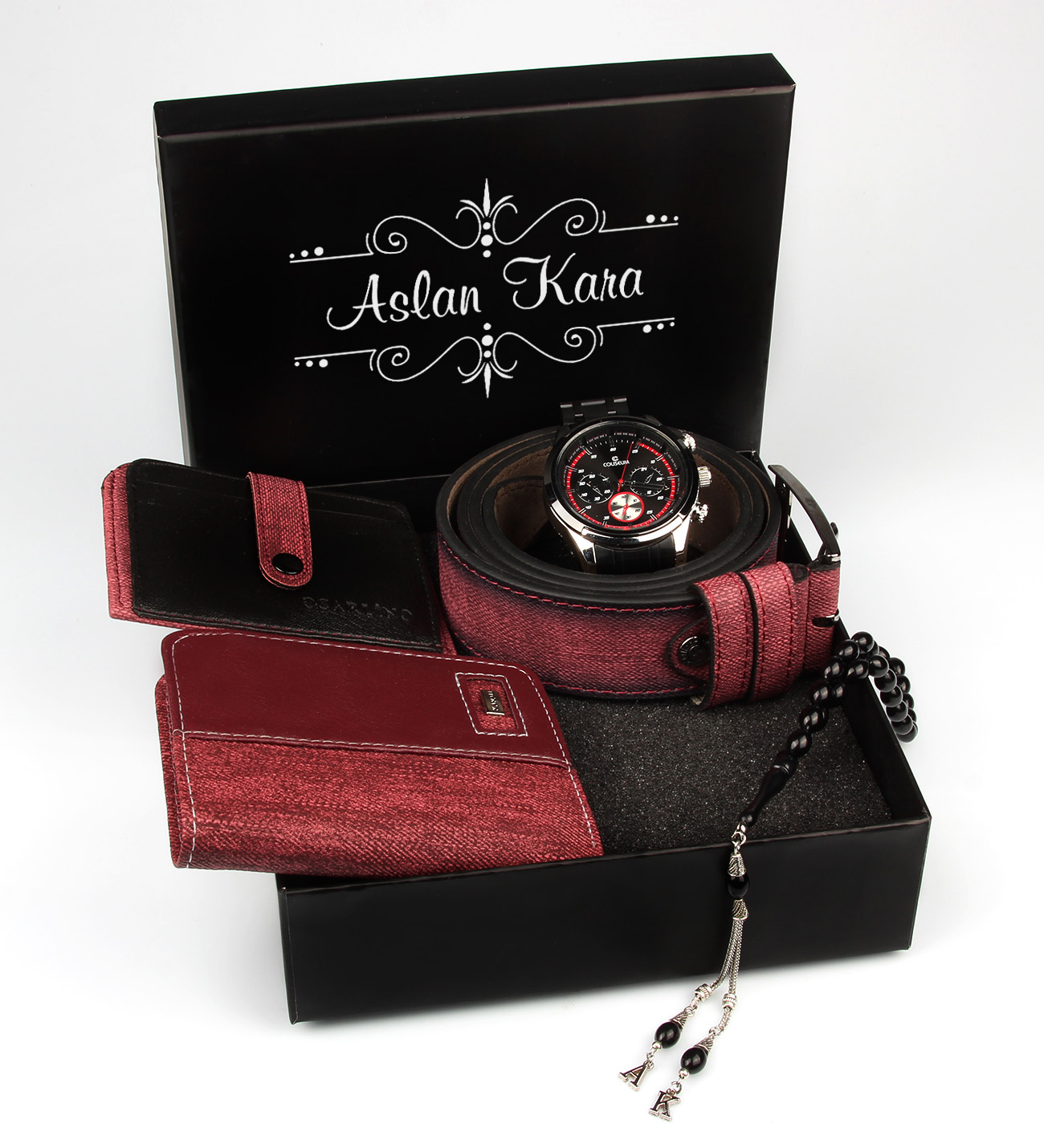 Men's Personalized Watch, Wallet, Card Holder, Belt & Prayer Beads Gift Set